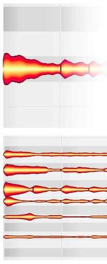 En haut, le son obtenu à l'aide d'une corde de guitare apparaît sous forme d'une courbe, dont le logiciel extrait les différentes notes, apparaissant en bas. © Celemony Software