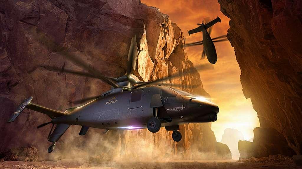 Avec ses deux rotors contrarotatifs et son hélice propulsive, le S-97 Raider de Lockheed-Martin pourra évoluer à 400 km/h sur une distance de 600 kilomètres en transportant six soldats. © Lockheed-Martin
