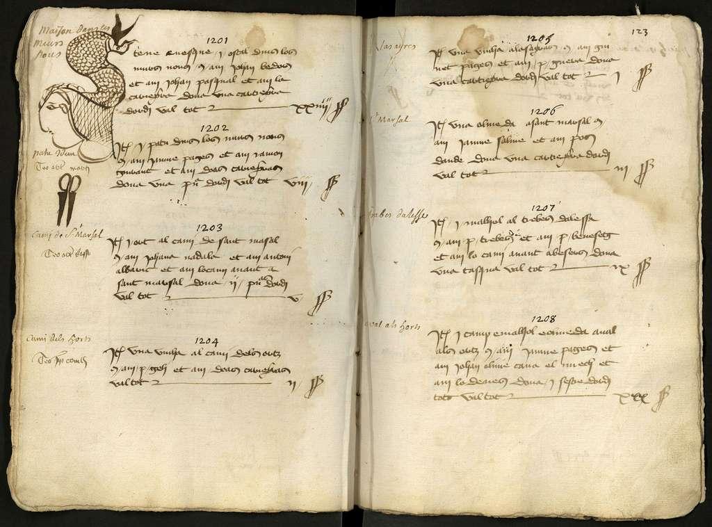 Ancêtre de matrice cadastrale ou compoix de la ville de Vendres (Hérault), daté de 1438. Archives départementales cote 329 EDT 22. © Hérault / Archives départementales.