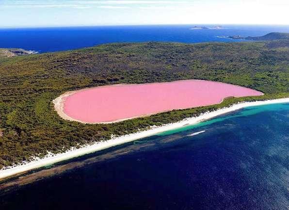 Le lac Hillier, en Australie, et sa couleur rose chewing-gum. © twonightsin, Instagram
