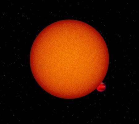 OGLE-TR-56b presque éclipsée par son étoile hôte (vue d'artiste). Crédit : David Sing