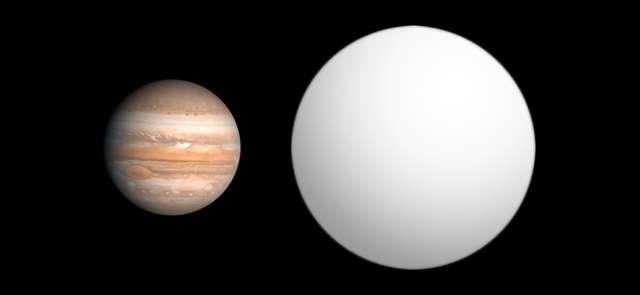 Une comparaison entre la taille de Jupiter et celle de Wasp 12b. © Aldaron, Wikipédia, CC by-sa 3.0