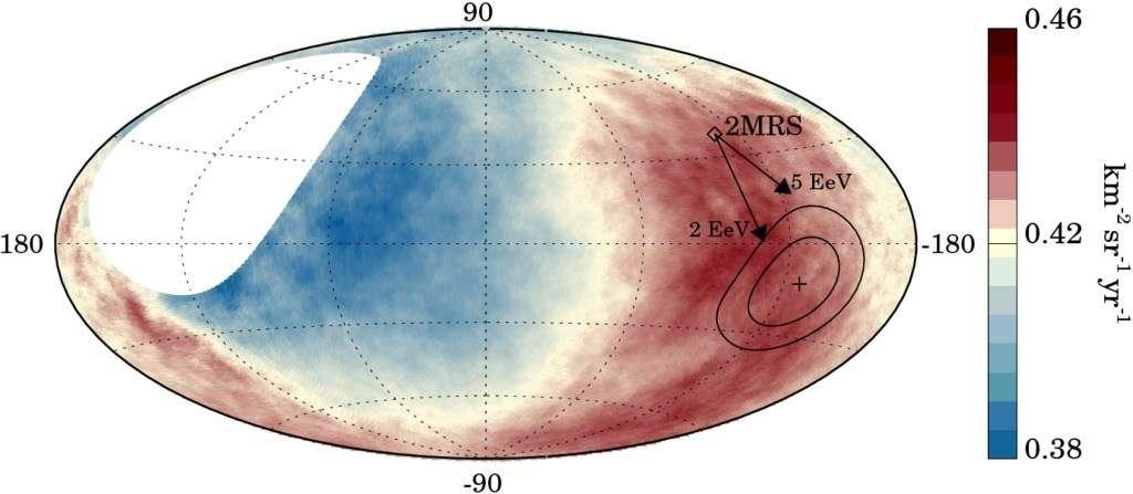 Carte du ciel montrant le flux de rayons cosmiques. La région présentant un excès de rayons cosmiques est entourée (à droite). Le centre galactique est au centre de l'ellipse. © Collaboration Pierre-Auger