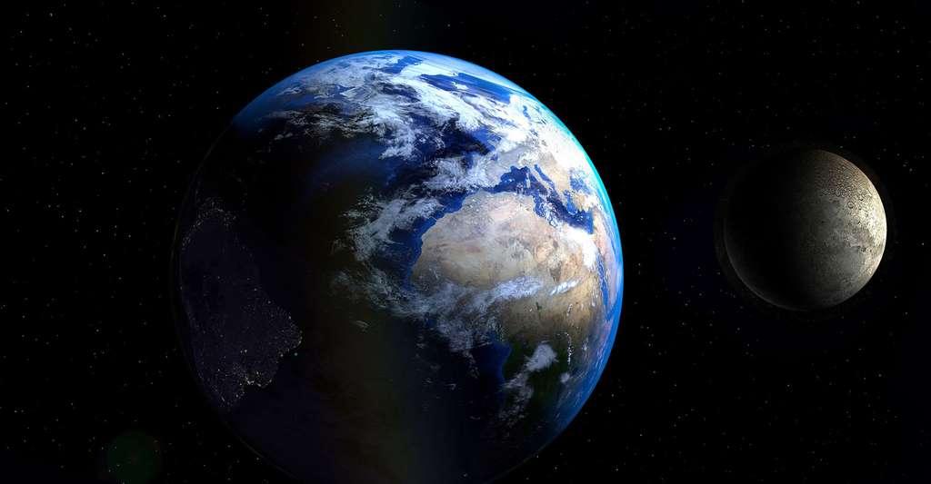 Qu'est-ce que la physique newtonienne ? Ici, notre planète, la Terre, et la Lune. © PIRO4D, DP