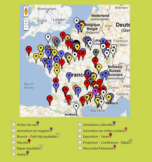 Carte des manifestations pour la Quinzaine du commerce équitable. En vous rendant sur le site officiel, vous pouvez sélectionner votre région, le type d'événement, etc. © QCE 2012