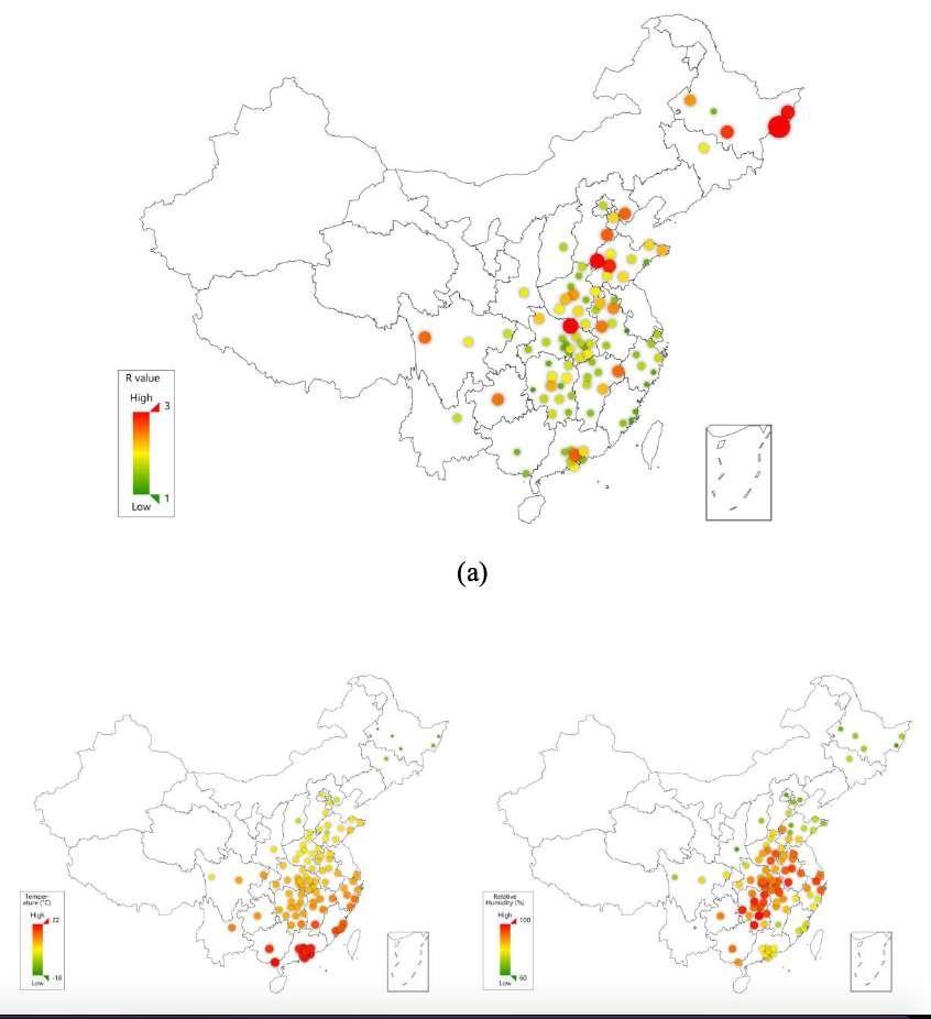 Le taux de reproduction du virus (contagiosité) comparé à la température (en bas à gauche) et à l'humidité (en bas à droite). © Jingyuan Wang et al, SSRN, 2020