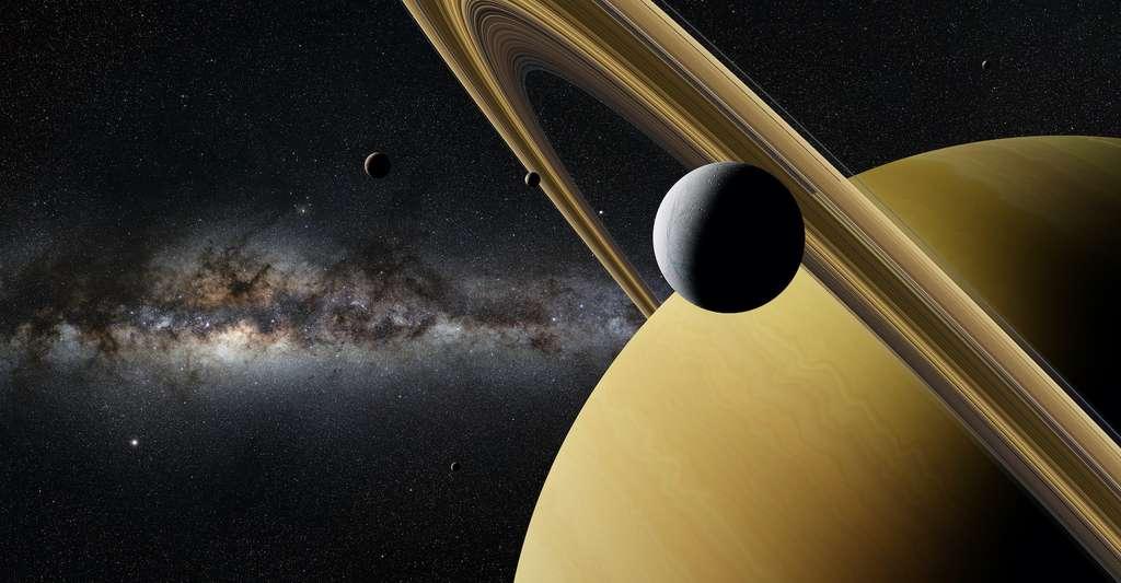 Cette expérience a également des implications sur notre capacité à détecter la vie sur les lunes glacées de notre Système solaire externe. Encelade, par exemple, la lune de Saturne. Elle éjecte des panaches d'eau dans l'espace depuis un océan souterrain qui pourrait abriter la vie. Ainsi, une sonde en orbite autour d'Encelade — à des vitesses relativement faibles de centaines de mètres par seconde — pourrait échantillonner et détecter la vie existante sans la tuer. Pour l'heure, aucune mission de ce type n'est prévue. © dottedyeti, Adobe Stock
