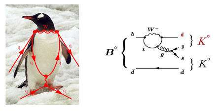 Les Penguin diagrams, – mal – traduit par diagrammes pingouin, tirent leur nom de la forme d'un manchot (penguin en anglais) qu'ils sont censés styliser. Ce sont des diagrammes de Feynman représentant des réactions particulières, mettant en jeu des quarks « beau » (b) dans les mésons B. Sur celui du haut, on voit des quarks étranges (s) et top (t). La réaction produit ici deux mésons K, des hadrons. Crédit : Berkeley Lab