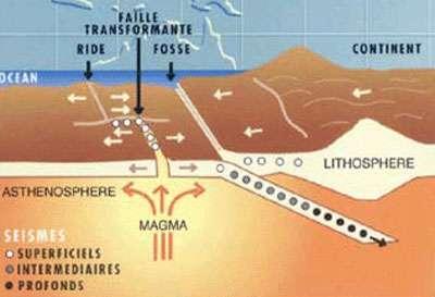 Localisation des séismes aux différents types de frontière de plaque.