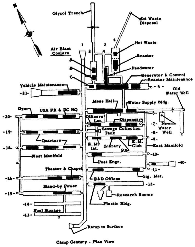 Le plan de Camp Century, avec son réacteur nucléaire, sa salle de gym, le mess des militaires, sa bibliothèque et sa chapelle. © US Army