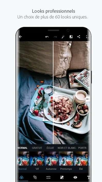 Photoshop Express est l'application de retouche photo mobile gratuite d'Adobe. © Adobe