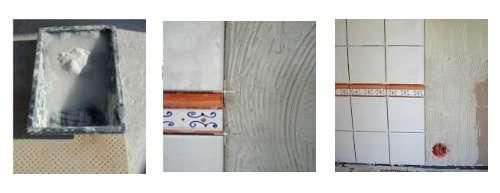 1. la préparation de la colle, 2. l'encollement du support, 3. l'application des carreaux. © DR