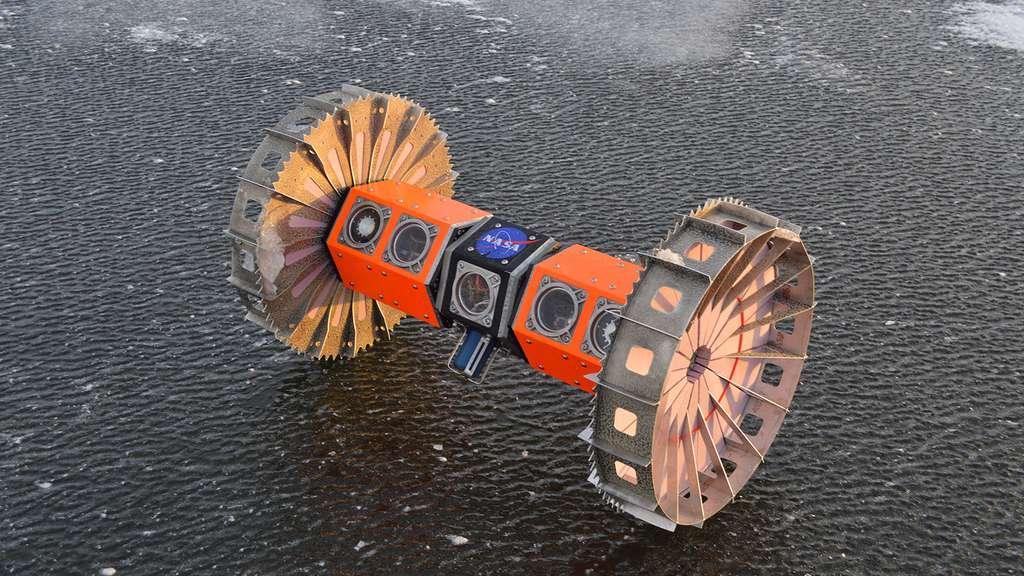 Le robot sous-marin Bruie ne mesure pas plus d'un mètre. Bardé de capteurs, il ira explorer les océans cachés sous les glaces d'Europe ou d'Encelade. © Nasa, JPL-Caltech