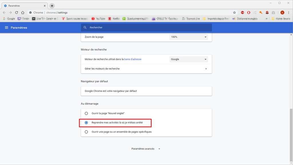 Google Chrome peut être configuré de façon à ce que les pages actives lors de la fermeture du navigateur s'ouvrent automatiquement au début de la prochaine session. © Google