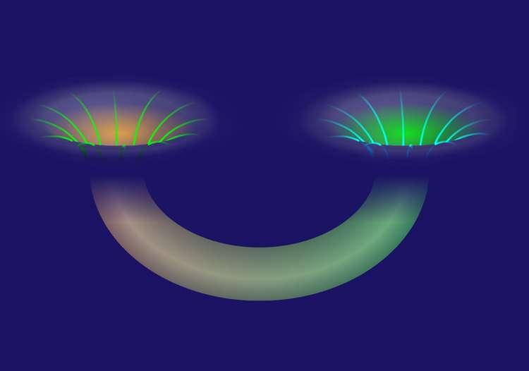 Une représentation d'un trou de ver de Misner. Contrairement au pont d'Eisntein-Rosen, il connecte deux régions d'un même univers. © Alan Stonebraker, American Physical Society