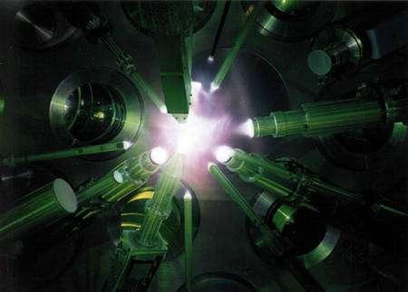 Une réaction de fusion thermonucléaire allumée par laser (Crédit : Standford.edu).