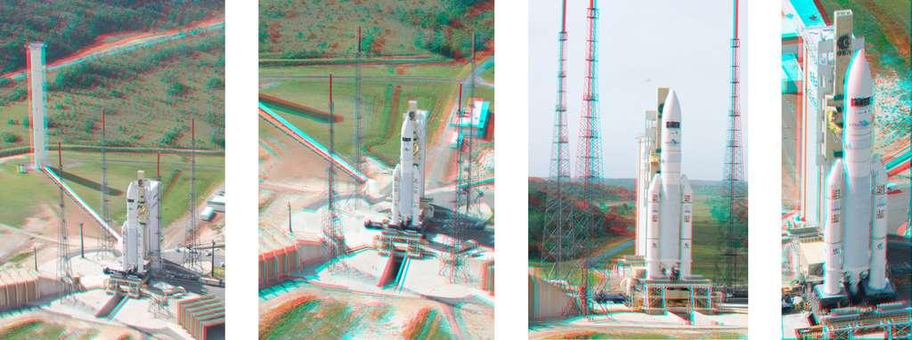 Vue en 3D (en vous munissant d'une paire de lunettes à filtres bleu et rouge) du lanceur Ariane 5 avec les satellites Planck et Herschel (V188) prêt au décollage, en mai 2009. © S. Corvaja, Rémy Decourt, Esa