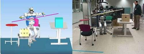 La simulation et l'expérimentation de planification de mouvement dynamique en 3D dans un environnement encombré. Une trajectoire a été planifiée qui permet au robot de transporter la barre en évitant les obstacles dans l'espace 3D en même temps de garder l'équilibre pendant la locomotion dynamique. © JRL/LAAS-CNRS