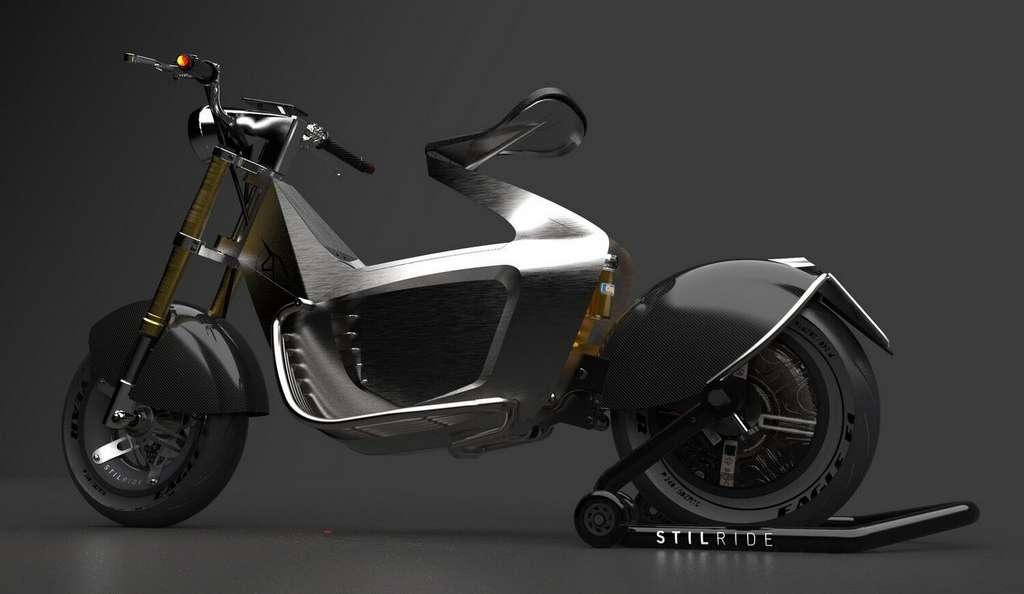 Stilride a opté pour une fourche et un amortisseur arrière issus de la moto. © Stilride