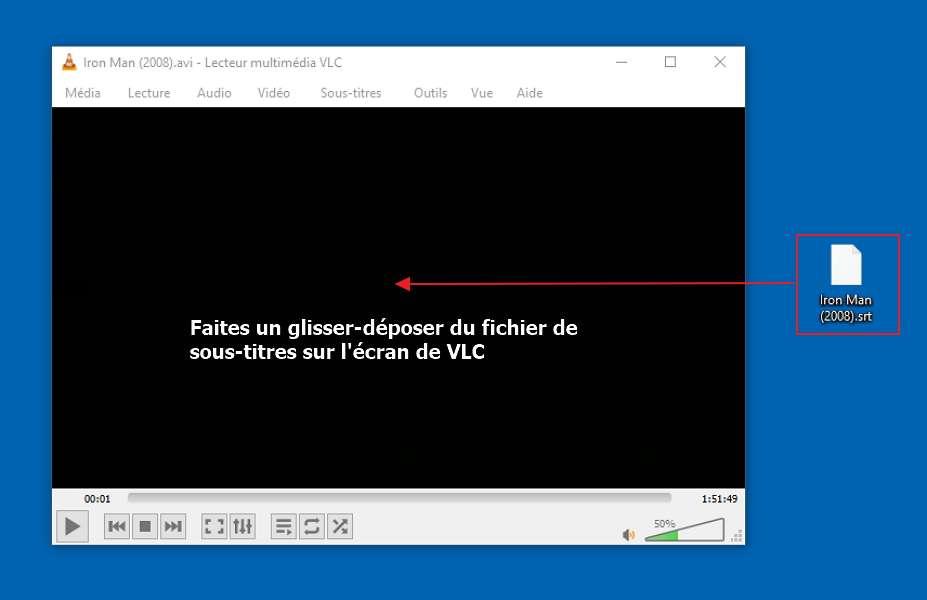 Faites un glisser-déposer du fichier de sous-titres sur l'écran de VLC. © VideoLAN non-profit organization.