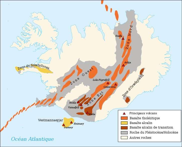 Carte des principaux volcans d'Islande (dont Katla), placés sur la dorsale médio-atlantique, avec les formations géologiques. © Pinpin, Wikipédia, cc by sa 2.0