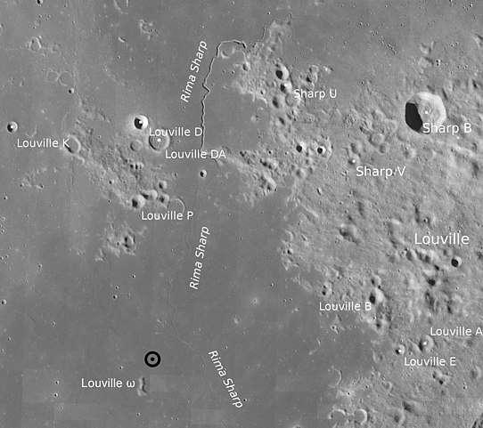 Carte localisant le site d'atterrissage de la sonde Chang'e 5 sur la Lune (cercle noir) et indiquant le contexte géologique des échantillons. © Nasa, LRO-LROC-Team, Wikimedia Commons, domaine public