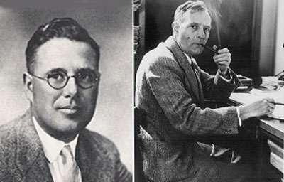 Humason (à gauche) et Hubble (à droite). © DP