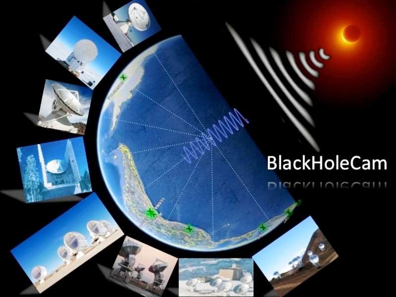 Vue d'artiste des radiotélescopes qui seront impliqués dans les projets BlackHoleCam et Event Horizon Telescope. En effectuant de la synthèse d'ouverture par interférométrie à très grande base, il sera possible de mettre en évidence l'horizon du trou noir supermassif au centre de la Voie lactée. © Université Radboud de Nimègue