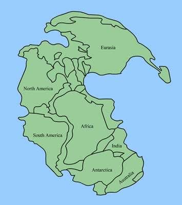 """Figure 4 : Un continent unique il y a environ 300 Millions d'années : """"La Pangée"""""""
