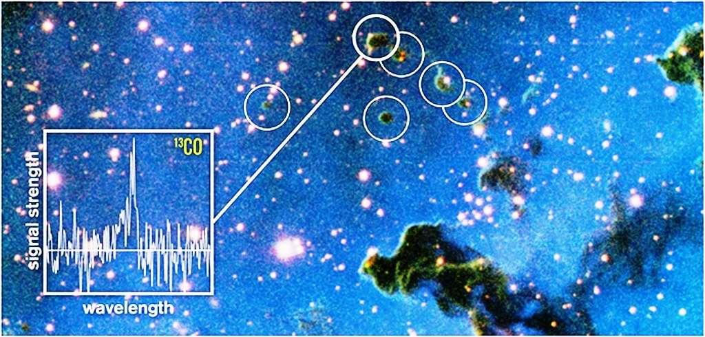 Les astronomes ont découvert que de petits nuages sombres dans la nébuleuse de la Rosette, appelés « globulettes », ont les bonnes caractéristiques pour former des planètes errantes. Le graphique montre le spectre de l'une des globulettes prises au télescope de 20 mètres à l'observatoire d'Onsala, en Suède. Les ondes radio émises par certaines molécules de monoxyde de carbone (13CO) dans ces globulettes donnent des informations sur la masse et la structure de ces nuages. © M. Mäkelä, ESO