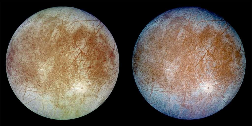 Europe, une lune de Jupiter, vue par la sonde Galileo de la Nasa en septembre 1996. Cette sonde est la seule à avoir survolé ce satellite à plusieurs reprises. L'image de gauche montre les couleurs qui s'approchent le plus de la réalité. © Nasa
