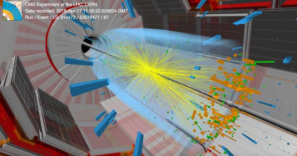 Interactions dans CMS enregistrées début 2018. CMS passe au crible les collisions jusqu'à 40 millions de fois par seconde en quête de signaux d'hypothétiques particules comme les leptoquarks. © Thomas McCauley/Tai Sakuma/CMS/CERN