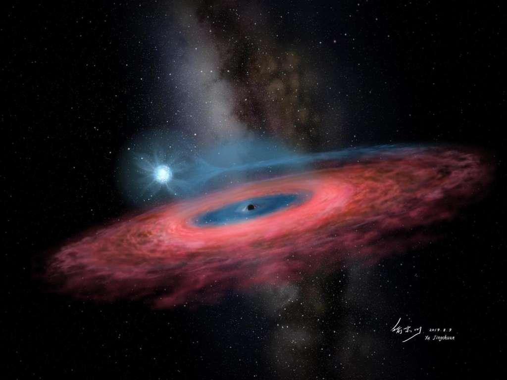 Accrétion de gaz sur un trou noir stellaire depuis une étoile bleue (impression d'artiste). © Yu Jingchuan, planétarium de Beijing, 2019