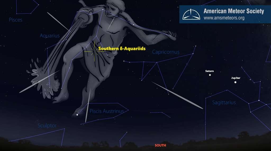 Position du radiant de l'essaim météoritique des Delta Aquarides du sud dont l'activité culmine dans la nuit du 28 au 29 juillet. Jupiter et Saturne, plus à l'ouest, sont dans la constellation du Sagittaire. © AMS