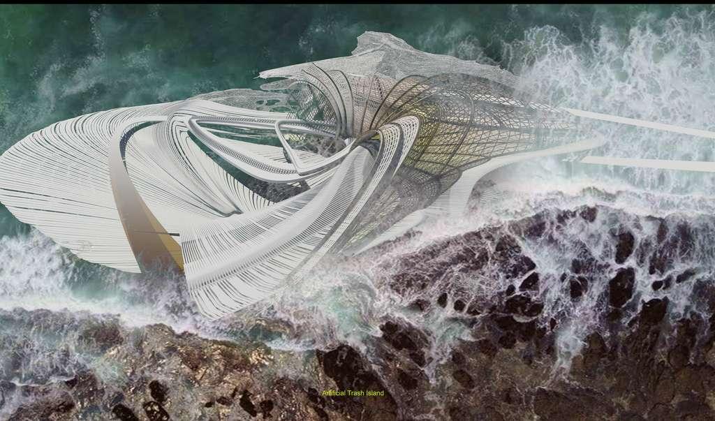 Les « tentacules » en plastique gonflent au contact de l'eau et agissent comme les racines d'une mangrove en absorbant les sédiments. © Margot Krasojević Architecture