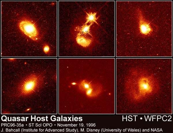 """Cliquez pour agrandir. Au-dessus, photos de quasars prises par le télescope spatial Hubble, certaines de ces photos montrant des collisions de galaxies. En dessous, illustration de l'éjection de particules de hautes énergies, en compagnie d'un schéma du """"principe physique"""" derrière l'existence de tels jets. Source NASA."""