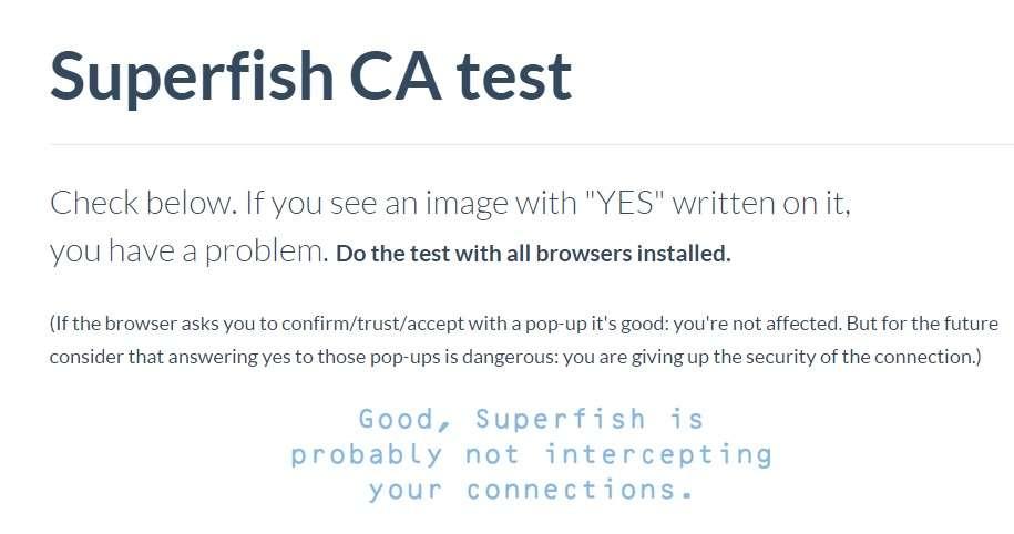 Lenovo propose désormais une méthode pour retirer Superfish (voir dans la suite du texte). Ici, le test de vérification a été négatif. © Lenovo