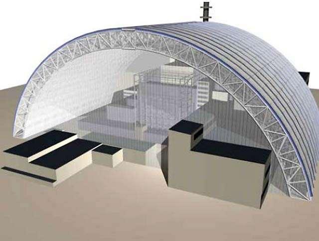 Le projet du sarcophage enfermant le réacteur 4 de Tchernobyl, une enceinte de 108 mètres de hauteur soutenue par une arche d'acier constituée d'une double structure de poutres, de 12 mètres d'épaisseur. © Vinci-Bouygues Travaux Publics