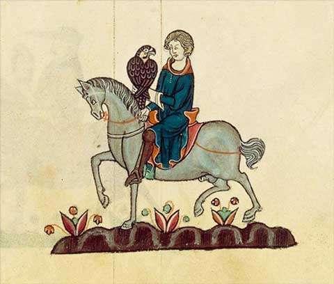 Fauconnier partant pour la chasse au Moyen Âge. © BNF, reproduction et utilisation interdites