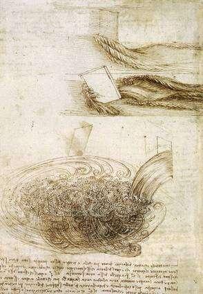 Cliquer pour agrandir. Léonard de Vinci était fasciné par les formes que peuvent prendre les écoulements d'eau. En voici ici des dessins de sa main extraits d'un de ses carnets. Crédit : Wikipédia