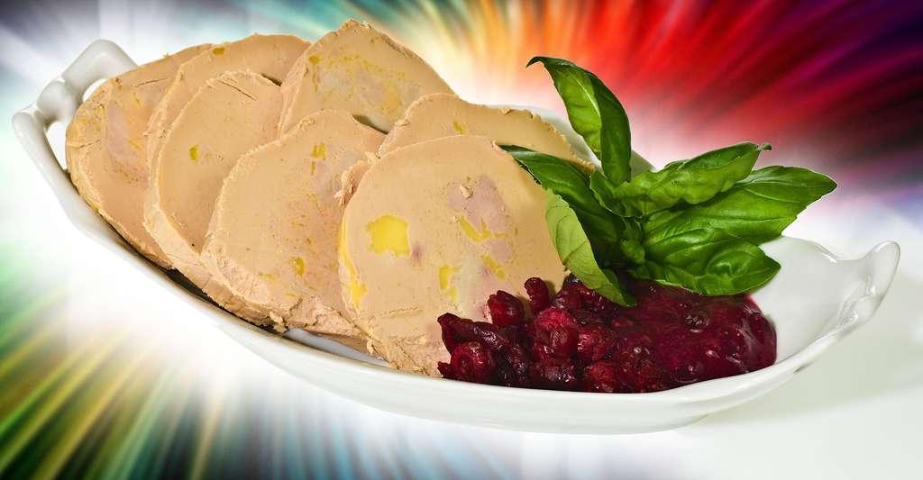 Assiette composée de foie gras, de confit de groseille et de quelques feuilles de basilic. © Nikodem Nijaki, Wikimedia, CC by-sa 3.0