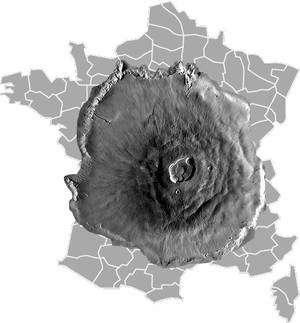 Comparaison de la superficie d'Olympus Mons avec celle de la France. Crédit Nasa pour l'image du volcan
