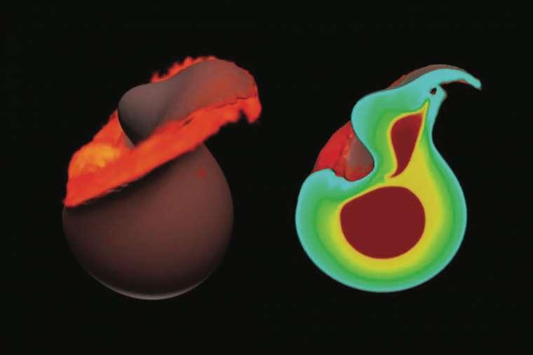 Selon les travaux des chercheurs de l'université de l'Arizona (États-Unis), notre Lune serait née non pas d'un, mais de deux impacts géants avec un objet de la taille de Mars, à un million d'années d'intervalle. Ici, une simulation de la première collision avec délit de fuite, en 3D, et environ une heure après l'impact. © Alexandre Emsenhuber, Université de Berne, Université de Munich