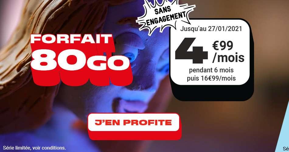 Forfait 80 Go à seulement 4,99 €/mois © NRJ Mobile