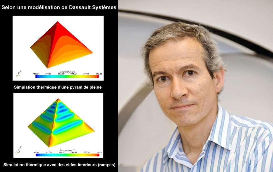 À gauche, des simulations thermiques montrent une pyramide pleine (en haut) et une pyramide qui contient une rampe intérieure (en bas). Pour Xavier Maldague (à droite), titulaire de la chaire de recherche en vision infrarouge multipolaire à l'université Laval, « les techniques que nous utiliserons pour sonder l'intérieur de la pyramide sont non destructives ». © Dassault Systèmes, DR