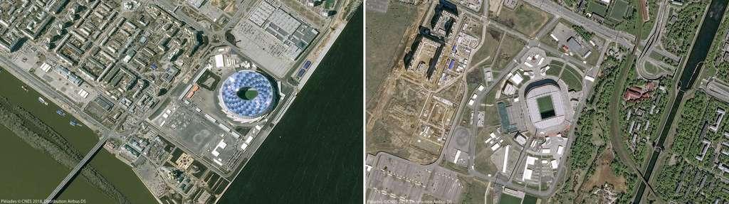 À gauche, le stade de Nijni Novgorod (2015) et à droite, le stade du Spartak (Otkrytie Arena), construit en 2007. © Pléiades, Cnes 2018, Distribution Airbus DS