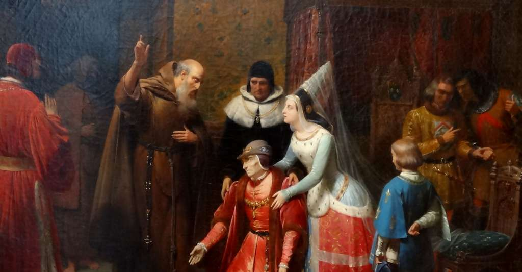 Louis XI, au pied de saint François de Paule (à gauche) et soutenu par sa fille, Anne de Beaujeu (à droite). Louis XI déclara la guerre à Marie de Bourgogne et ce fut la fin de l'État bourguignon. © Musée Anne-de-Beaujeu, Wikimedia Commons, DP