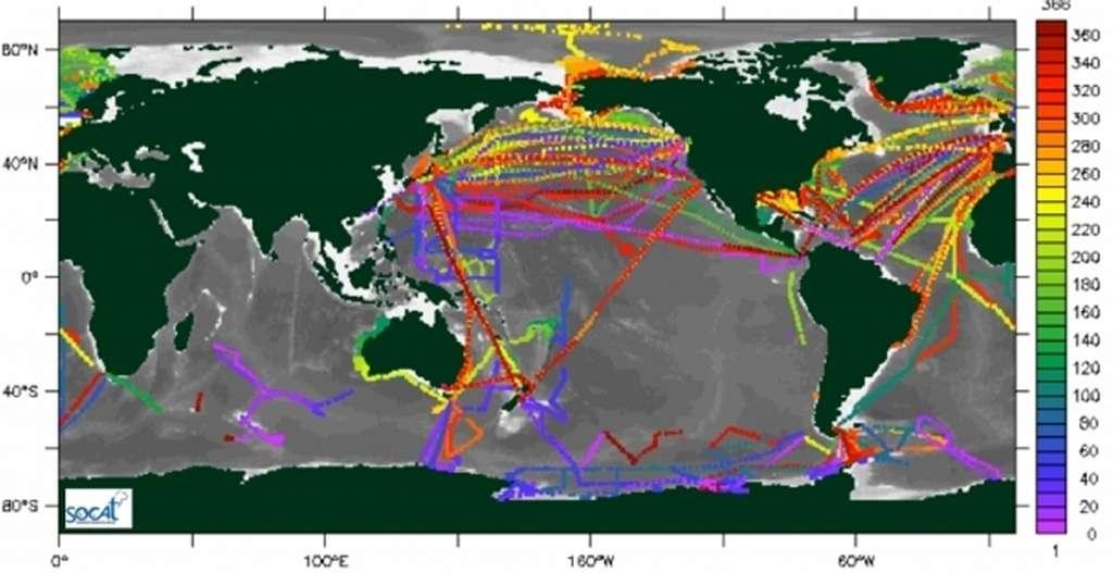 Un exemple d'observations du CO2 océanique de 2009 à 2011 rassemblées dans la base de données Socat. Les valeurs quotidiennes sont moyennées pour ces trois années et le code couleur indique le jour de l'année. Des interpolations et des extrapolations doivent être faites pour les zones sans observations mais aussi pour les périodes sans mesures. Plusieurs méthodes existent et il fallait les comparer pour en évaluer la justesse. © Projet Socom, CNRS