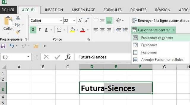 Sur cet exemple, les colonnes « D », « E » et « F » ont été fusionnées. © Futura