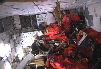 L'équipage fin prêt à bord de Discovery